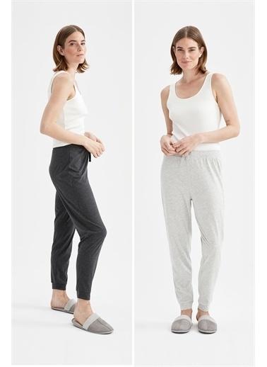 DeFacto Relax Fit Basic 2'li Pijama Takımı Antrasit